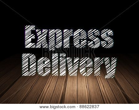 Business concept: Express Delivery in grunge dark room
