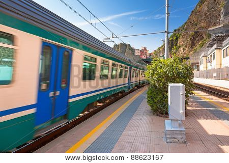 Train station at Cinque Terre National Park, Manarola in Italy.