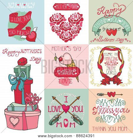 Mothers day cards set.Labels, hearts,decor elements,lettering