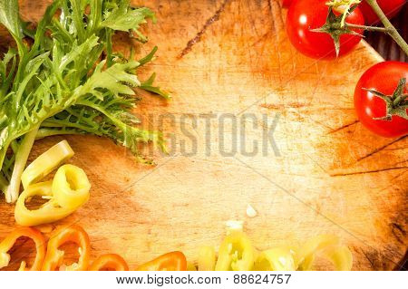 fresh organic salad on wooden background