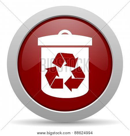 recycle red glossy web icon