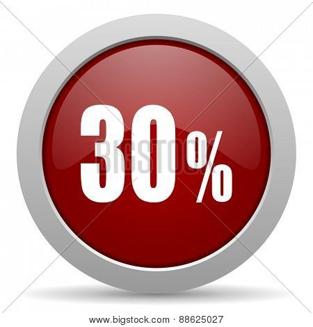 30 percent red glossy web icon