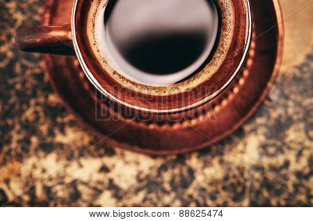 Vintage cup of coffee, top view