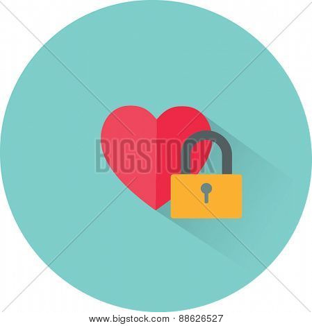 Vector heart and lock icon. Love secret symbol
