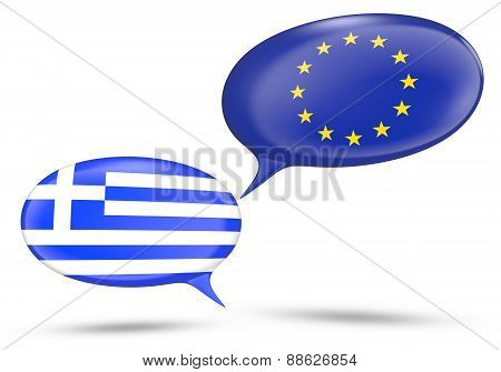 Greece - European Union relations concept with speech bubbles