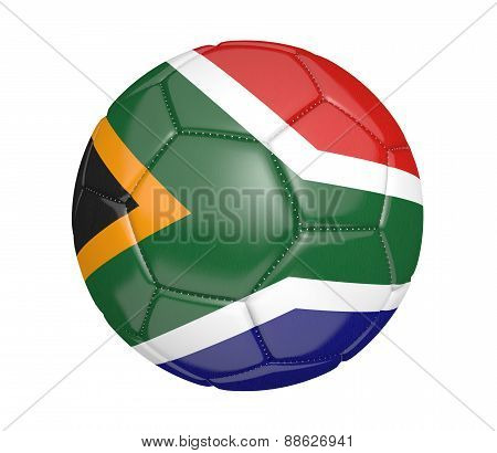 Soccer ball, or football, with the country flag of South Africa