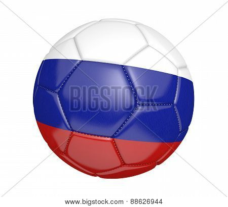 Soccer ball, or football, with the country flag of Russia