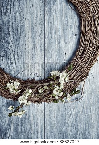 Spring garland with apple blossom decoration