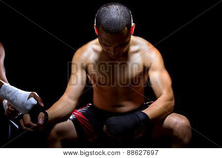 Latino Fighter Praying To Win