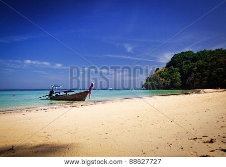 Longtail boats on the beautiful beach, Thailand