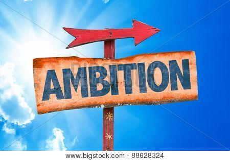 Ambition sign with sky background