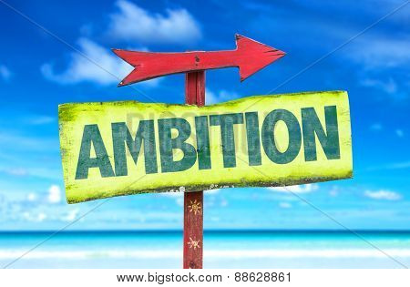 Ambition sign with beach background