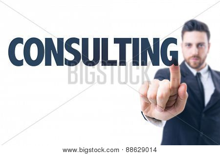 Business man pointing the text: Consulting