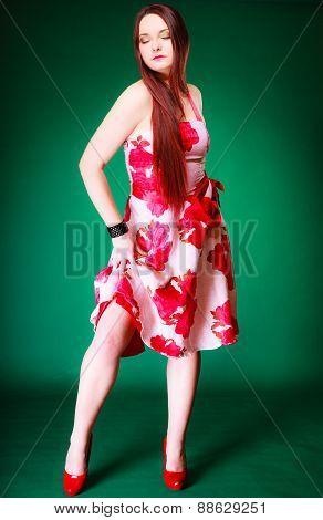 Full Length Female Posing In Summer Dress.