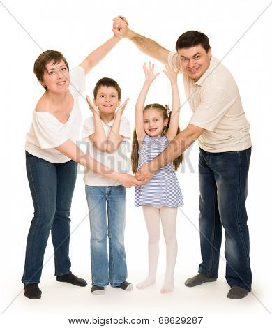 happy family in studio