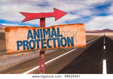 Animal Protection sign with road background