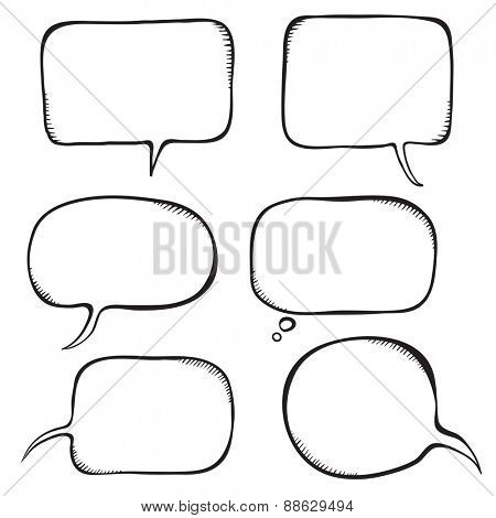 Speech bubble. Sketch vector illustration isolated on white.