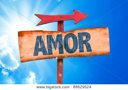 Love (in Portuguese) sign with sky background