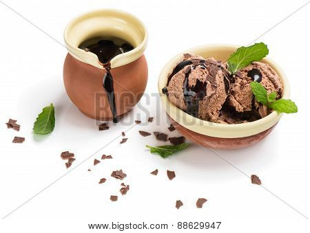 Chocolate Ice Cream And Chocolate Sauce