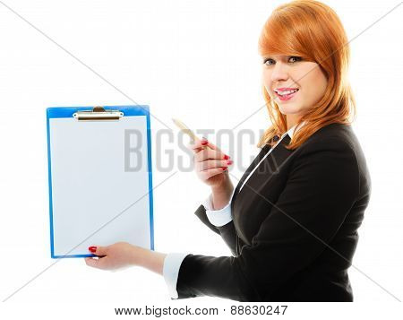 Woman Holding Blue Clipboard With Blank