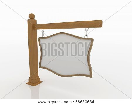 Wooden Signboard On Post With Chains On White Background