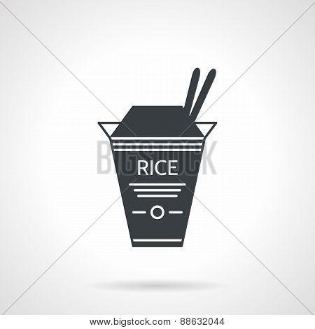 Rice box black vector icon