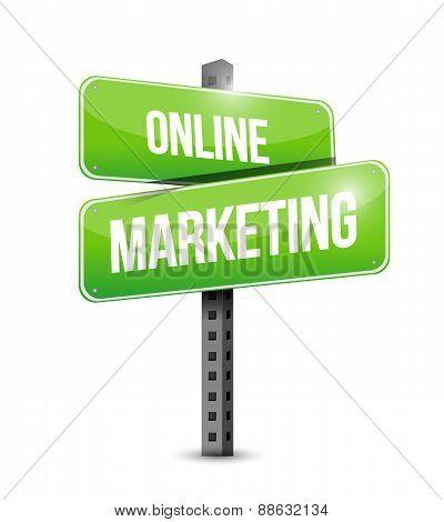 Online Marketing Street Sign Illustration