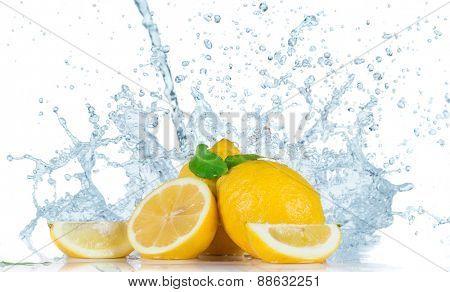 Fresh lemons with water splash isolated on white