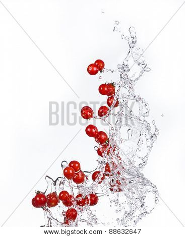 Fresh cherry tomatoes with water splash isolated on white