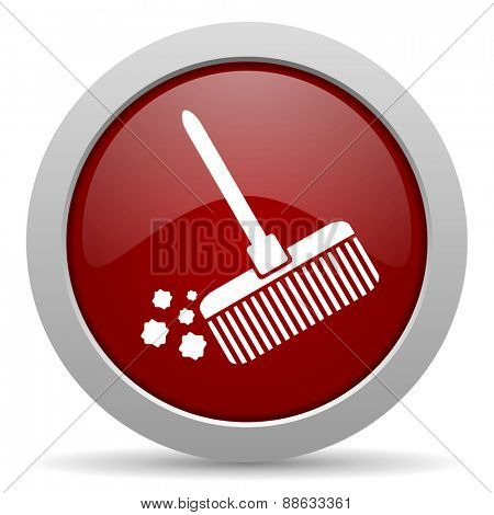 broom red glossy web icon