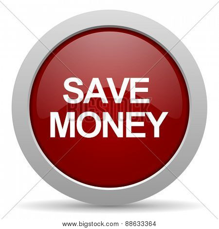 save money red glossy web icon