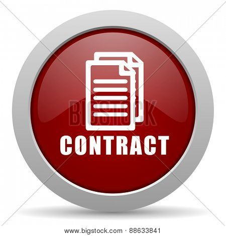 contract red glossy web icon