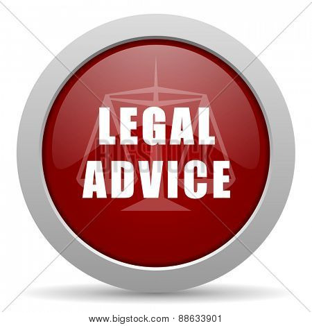 legal advice red glossy web icon