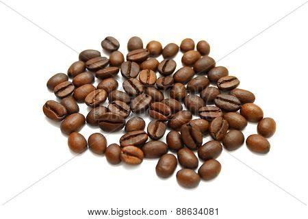 Coffee Grains On White