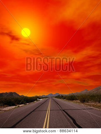 Sonora Desert Road Sunset
