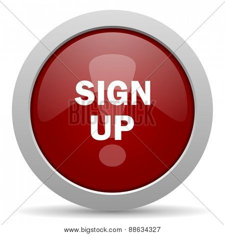 sign up red glossy web icon
