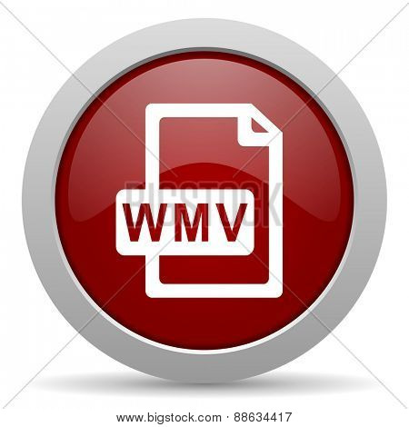 wmv file red glossy web icon