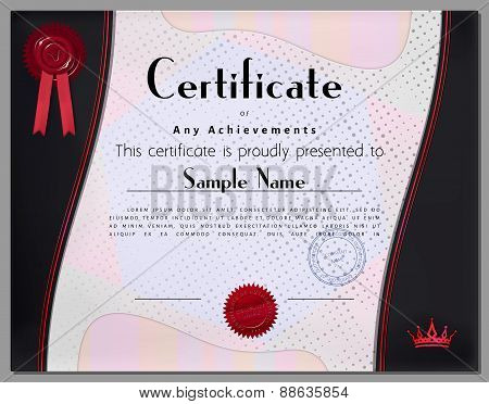 Gift Certificate, Diploma, Coupon, Award Of Course Completion Template With Gray Border And Red Gold