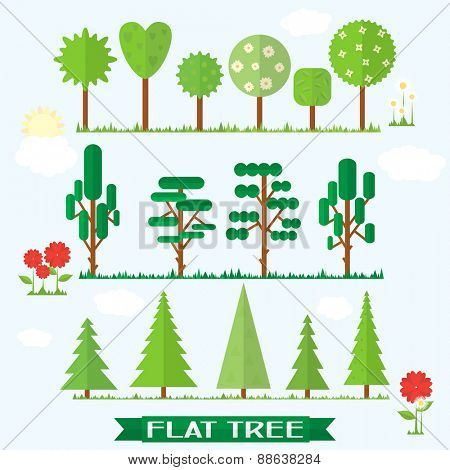 Set flat vector tree, flower, spruce