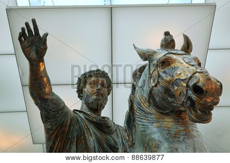 ROME, ITALY - DECEMBER 18, 2011: Roman bronze equestrian statue of Marcus Aurelius displayed in the Capitoline Museums in Rome, Italy.