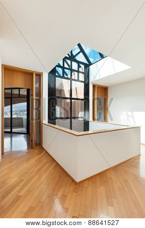 Architecture, Interiors of empty apartment, room with skylight