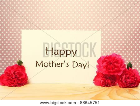 Mothers Day Message Card With Carnations