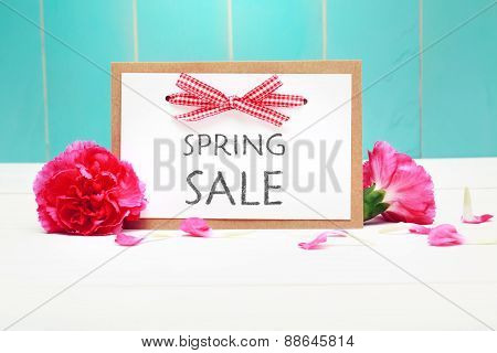 Spring Sale Card With Pink Carnations
