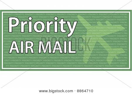 Priority Air Mail - Green and white Color