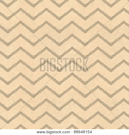 Zig zag pattern background with vintage paper and black screen dot stripes