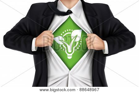 Businessman Showing Eco Icon Underneath His Shirt