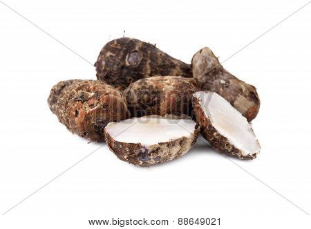 Boiled Tiny Taro On White Background