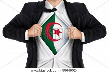 Businessman Showing Algeria Flag Underneath His Shirt