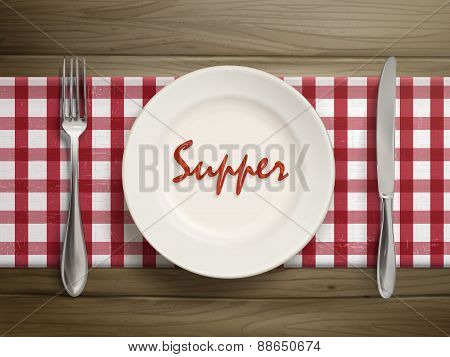 Supper Word Written By Ketchup On A Plate