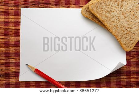 Blank Paper With Bread